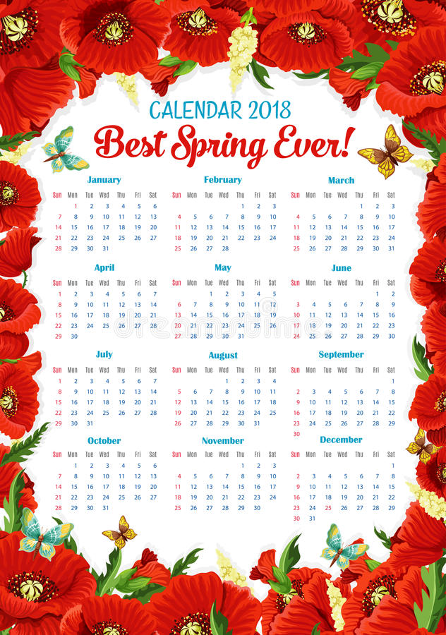 Vector El Calendario 2018 Del Bastidor De Las Flores De La Amapola ...