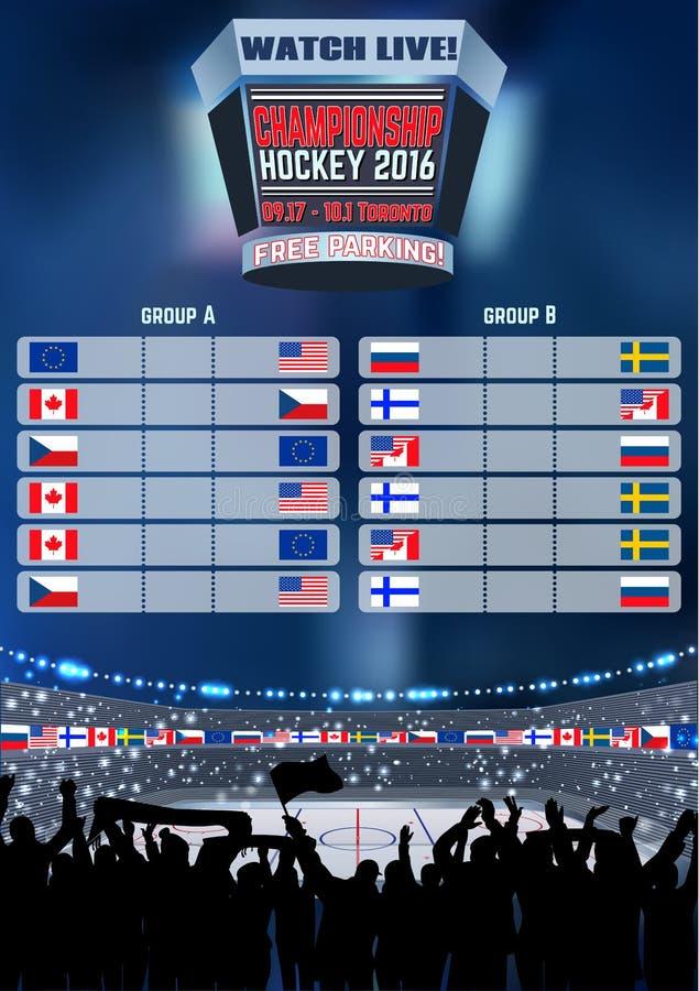Vector el campeonato vacío Toronto del fondo del campo del tablero de la arena del hockey sobre hielo Cartel vertical libre illustration