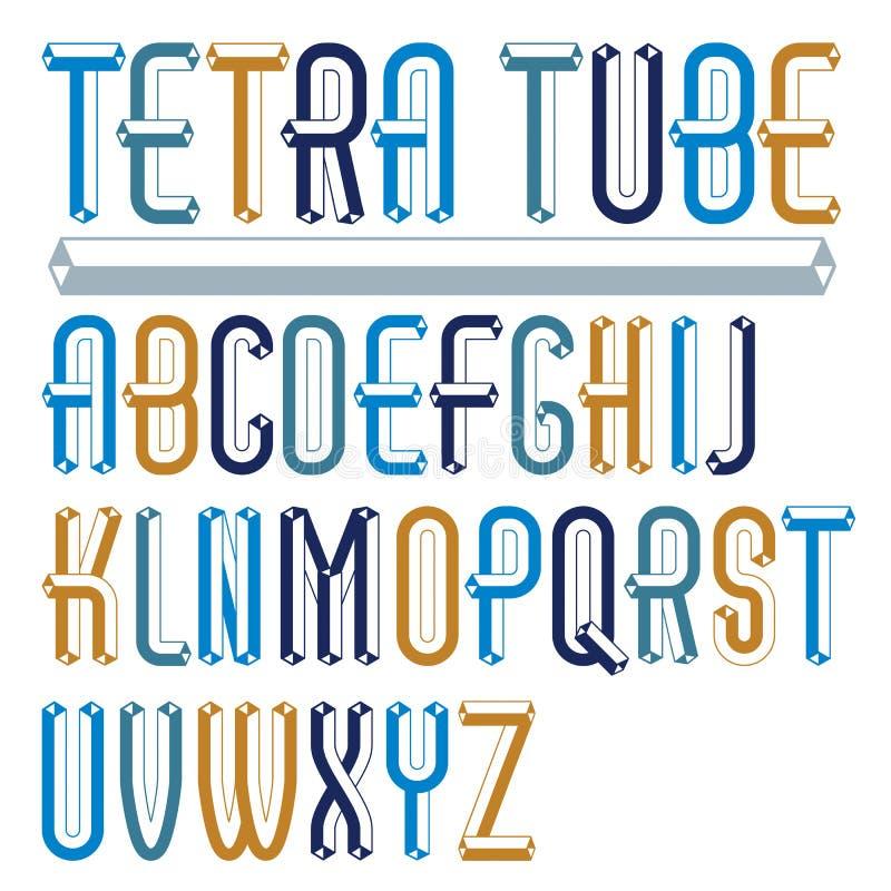 Vector el capital moderno de moda, las letras mayúsculas del alfabeto recogen ilustración del vector