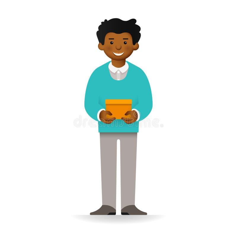 Vector el carácter africano fresco del hombre que coloca y que sostiene la caja libre illustration