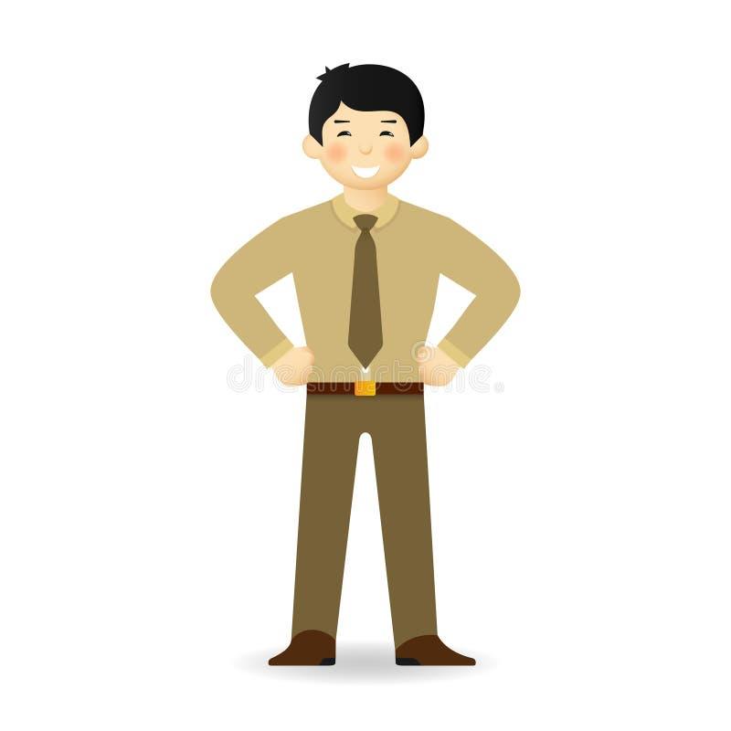 Vector el carácter asiático del oficinista en estilo plano stock de ilustración