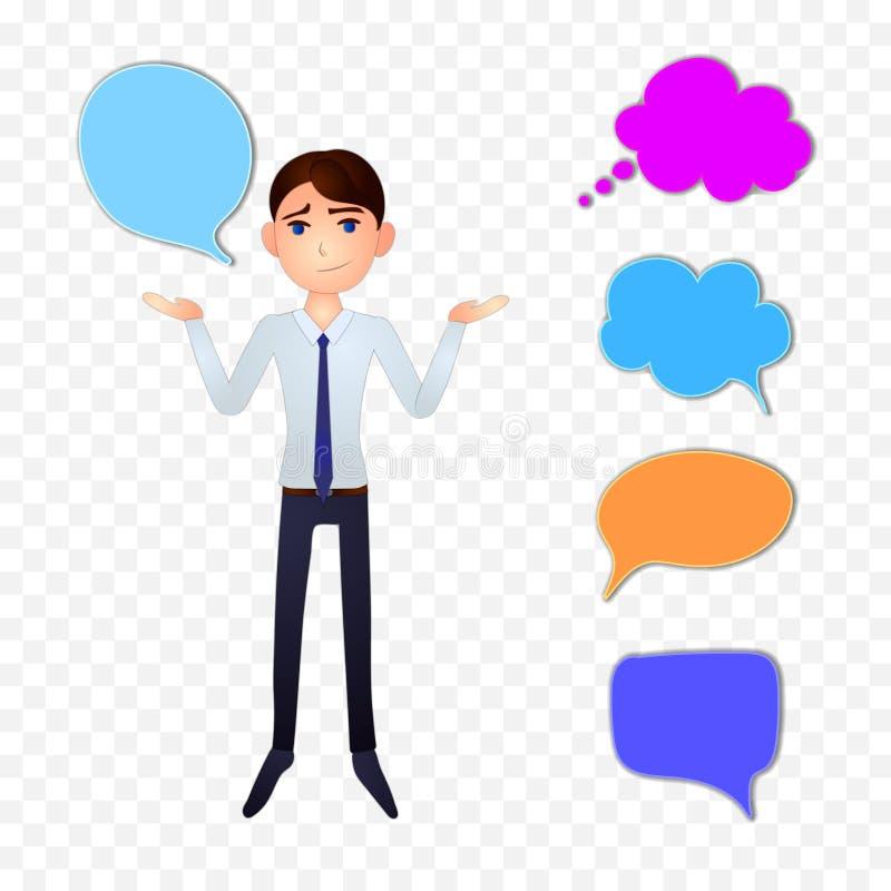 Vector el carácter del hombre de negocios con las burbujas coloridas de la charla y piense las nubes ilustración del vector