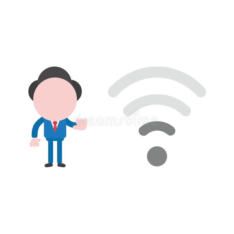 Vector el carácter del hombre de negocios del ejemplo con la radio baja del wifi libre illustration