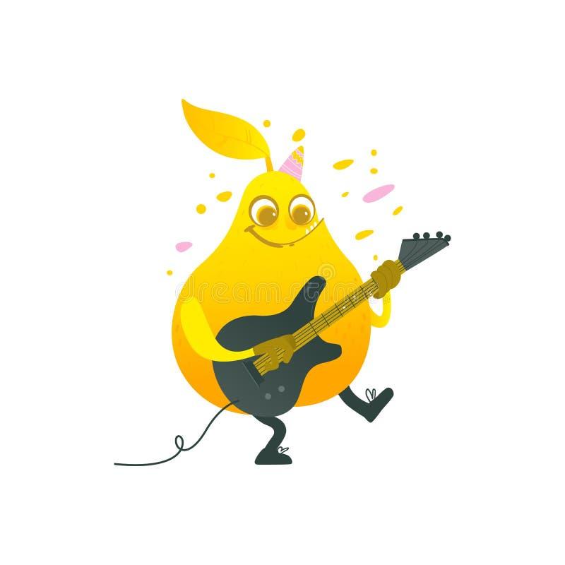 Vector el carácter divertido plano de la fruta de la pera que toca la guitarra stock de ilustración