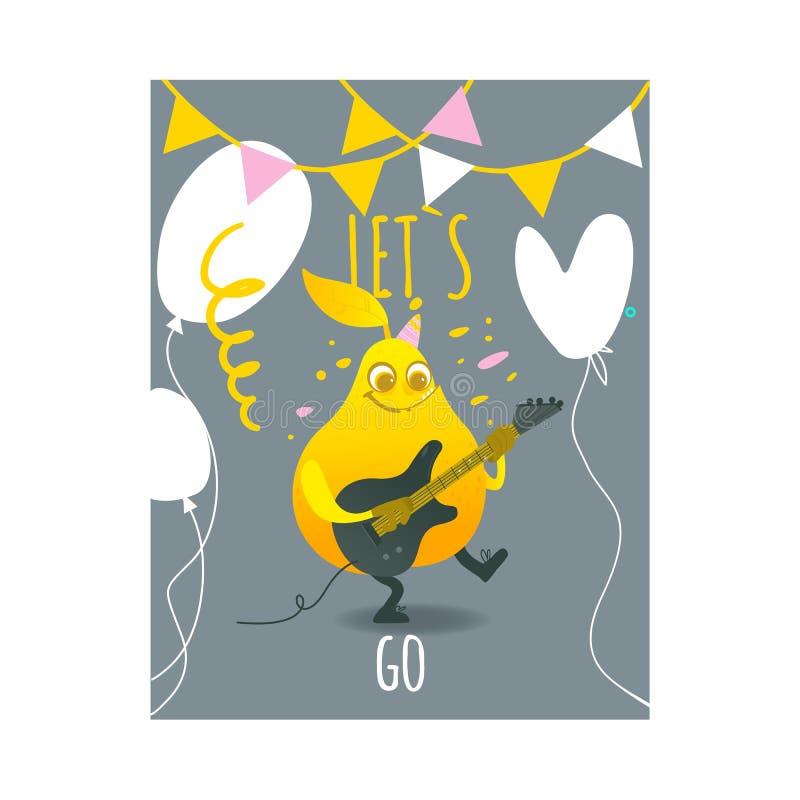 Vector el carácter divertido plano de la fruta de la pera que toca la guitarra ilustración del vector