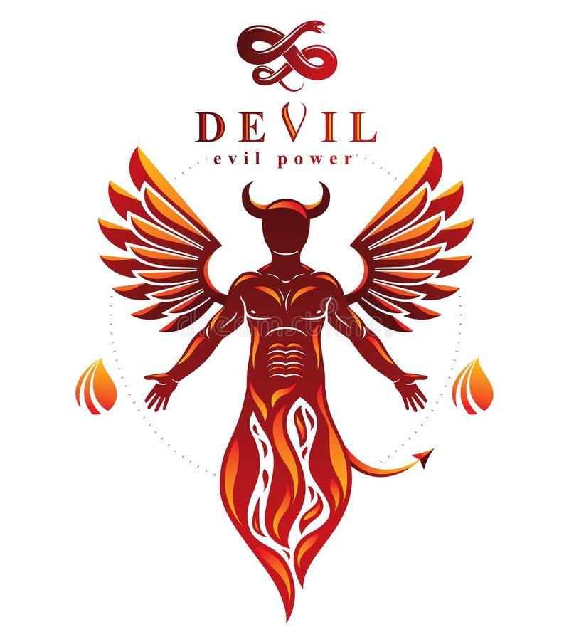 Vector el carácter individual, místico hecho con las alas y emerger ilustración del vector