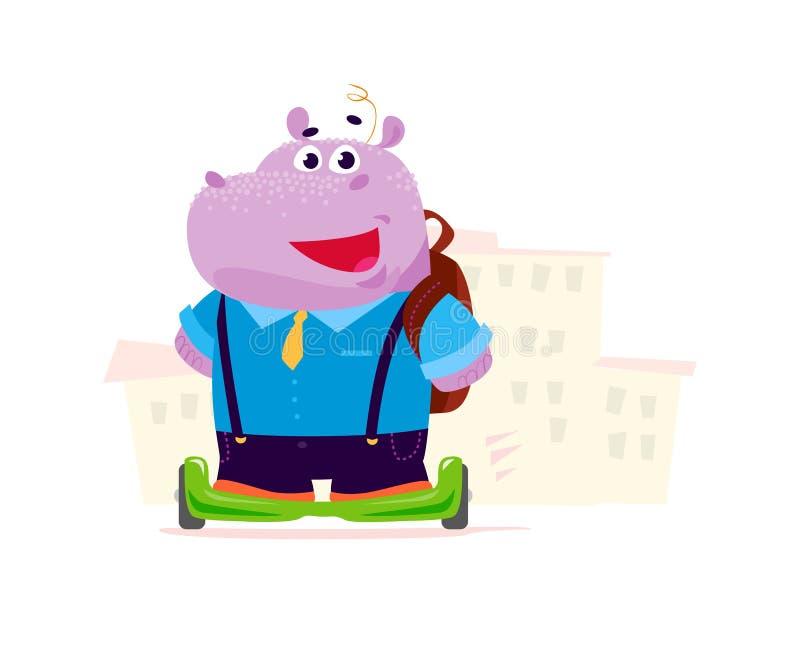 Vector el carácter lindo plano del estudiante del muchacho del hipopótamo en las ruedas de balanza que se colocan delante de la c ilustración del vector