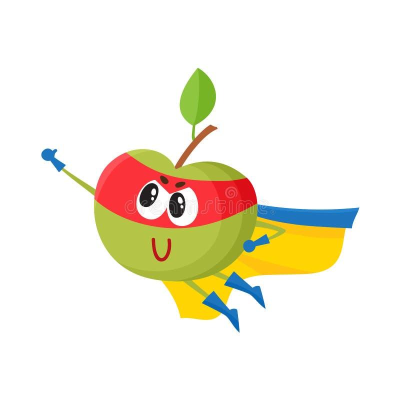 Vector el carácter plano en cabo, vuelo de la manzana de la máscara stock de ilustración
