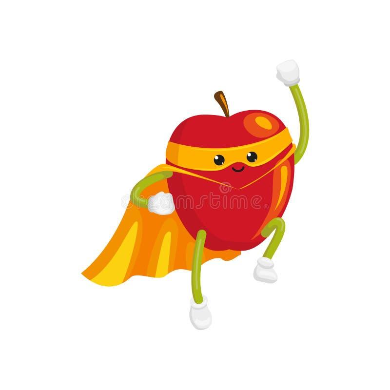 Vector el carácter plano en cabo, vuelo de la manzana de la máscara ilustración del vector