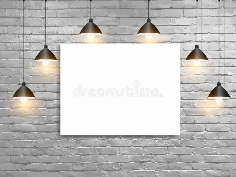 Vector el cartel ascendente falso con la pared de ladrillo del blanco de las lámparas del techo stock de ilustración