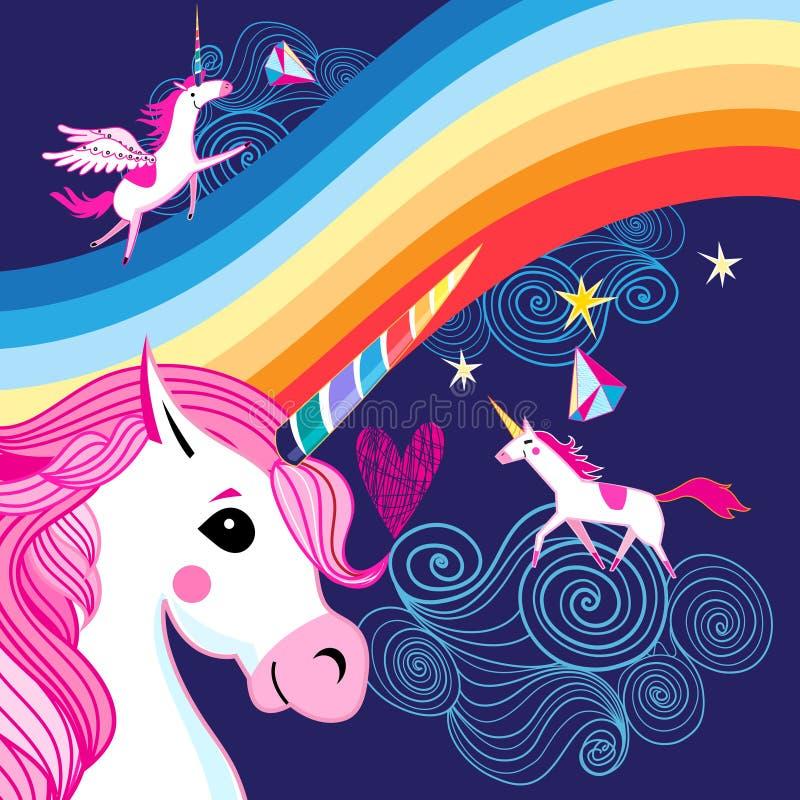 Vector el cartel brillante con un arco iris y unicornios ilustración del vector