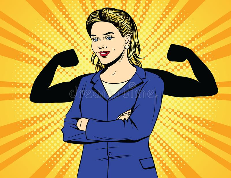 Vector el cartel cómico del vintage del estilo del arte pop del color de la mujer de negocios fuerte ilustración del vector
