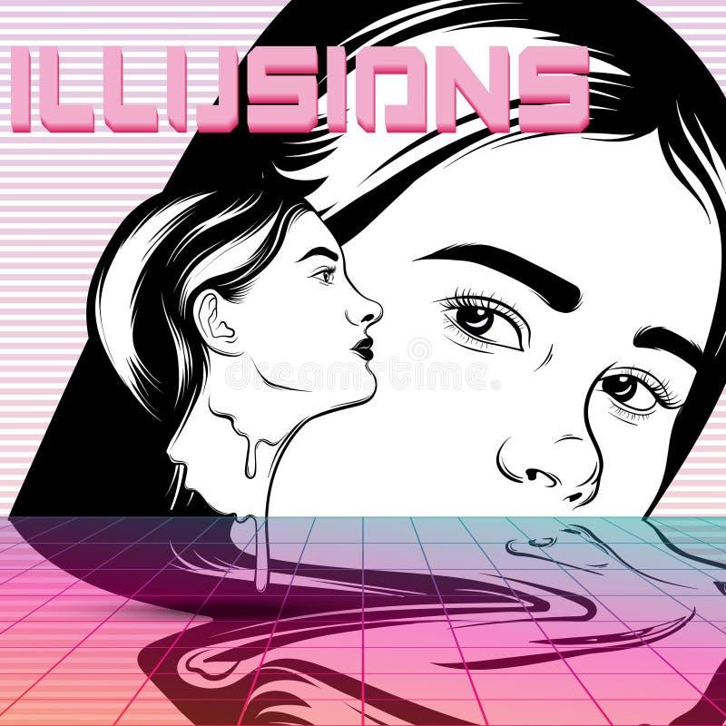 Vector el cartel con el ejemplo dibujado mano de muchachas surrealistas ilustración del vector