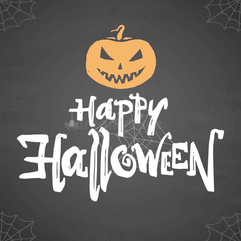 Vector el cartel con el tipo dibujado mano de feliz Halloween, de calabaza y de araña en fondo de la pizarra libre illustration
