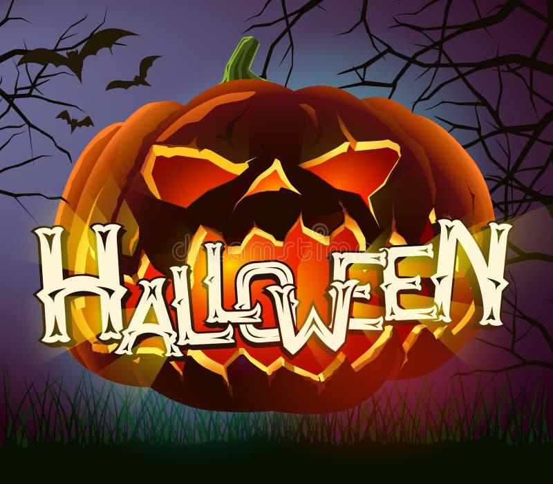 Vector el cartel de Halloween con la calabaza malvada en fondo oscuro ilustración del vector