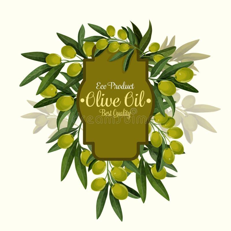 Vector el cartel de las aceitunas para el aceite de oliva virginal adicional libre illustration