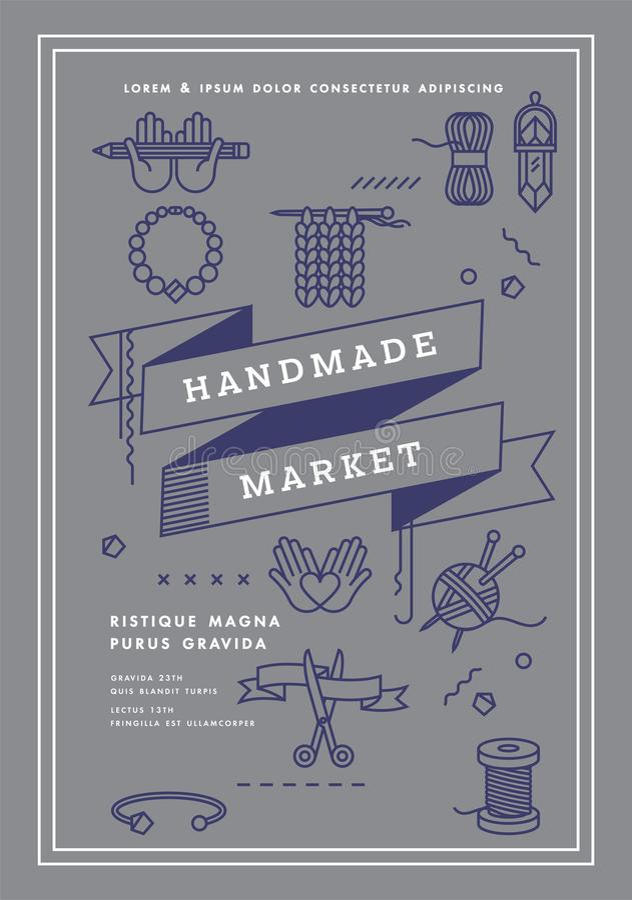 Vector el cartel del mercado del ejemplo, el taller de los artes, la feria del arte y el cartel hechos a mano del festival Herram libre illustration