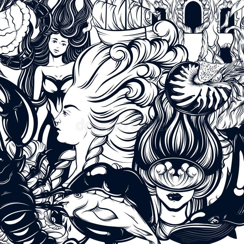 Vector el cartel dibujado mano con el modelo con el ejemplo del buceador, sirena, boca con los pescados, cáscara del nautilus, cá stock de ilustración