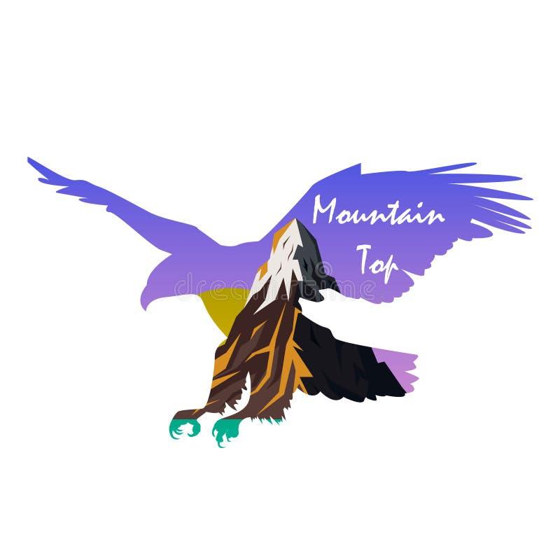 Vector el cartel en animales salvajes de los temas, supervivencia en el salvaje, búsqueda, acampando, viaje Eagle ilustración del vector