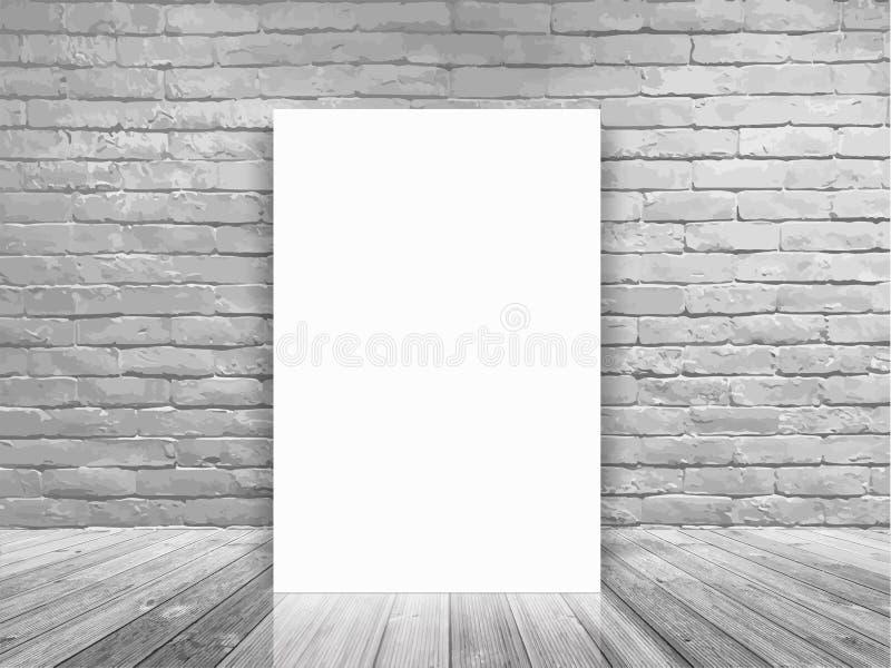 Vector el cartel en blanco en la pared de ladrillo blanca y el sitio concreto del piso libre illustration