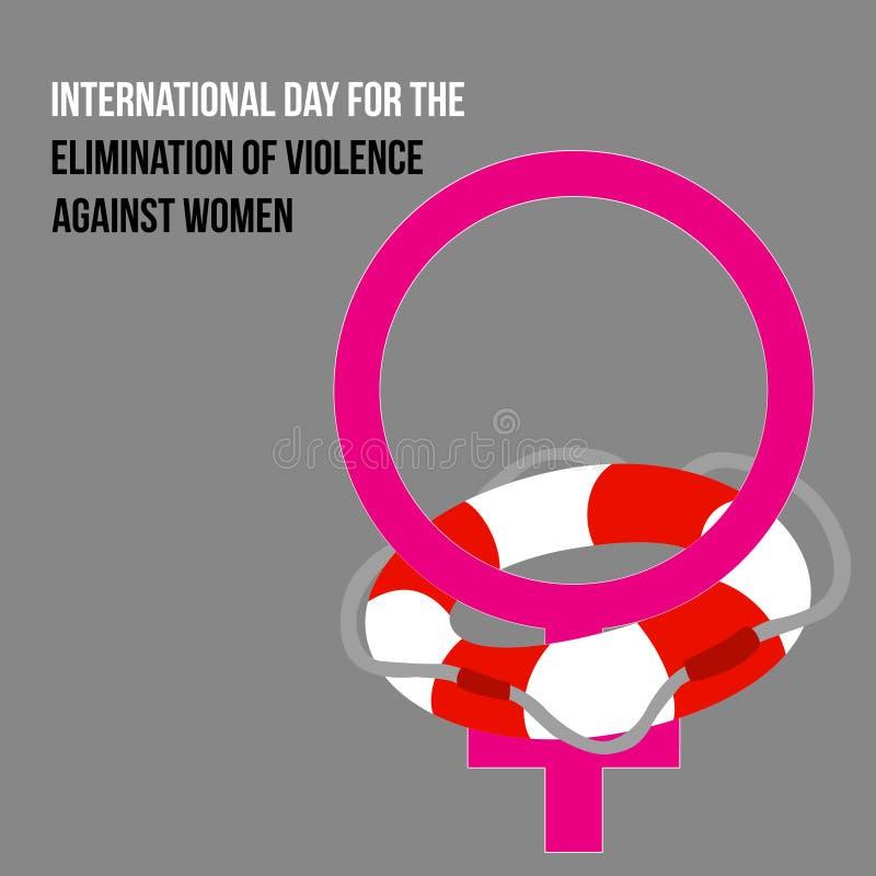 Vector el cartel para la eliminación internacional del día de la violencia contra mujeres stock de ilustración