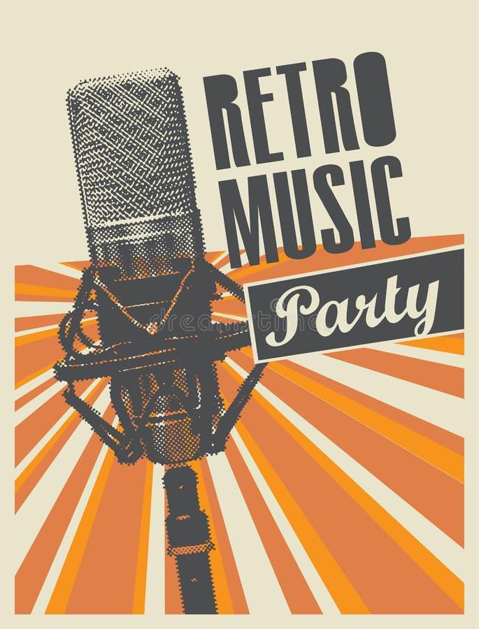 Vector el cartel para un partido retro con el micrófono stock de ilustración