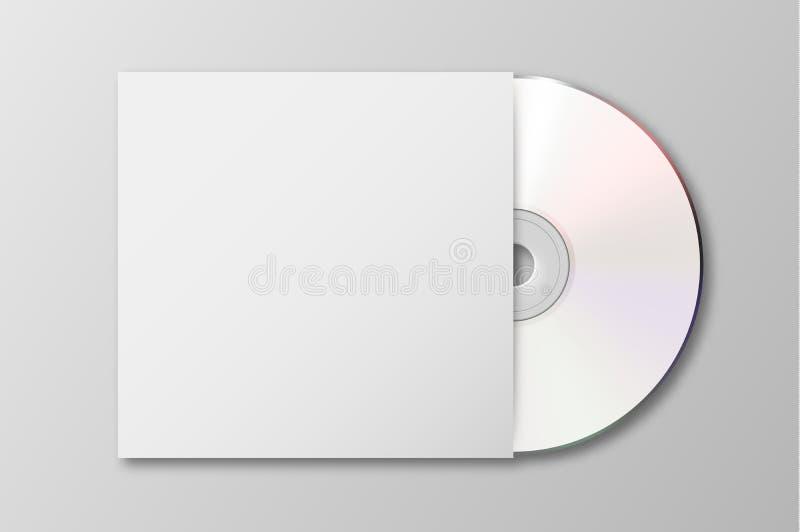 Vector el Cd blanco realista 3d con el icono de la cubierta aislado Plantilla del diseño de la maqueta de empaquetado para los gr libre illustration