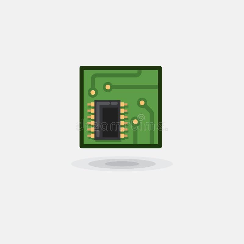Vector el chip de ordenador del icono, tablero electrónico, tablero del ordenador es plano stock de ilustración