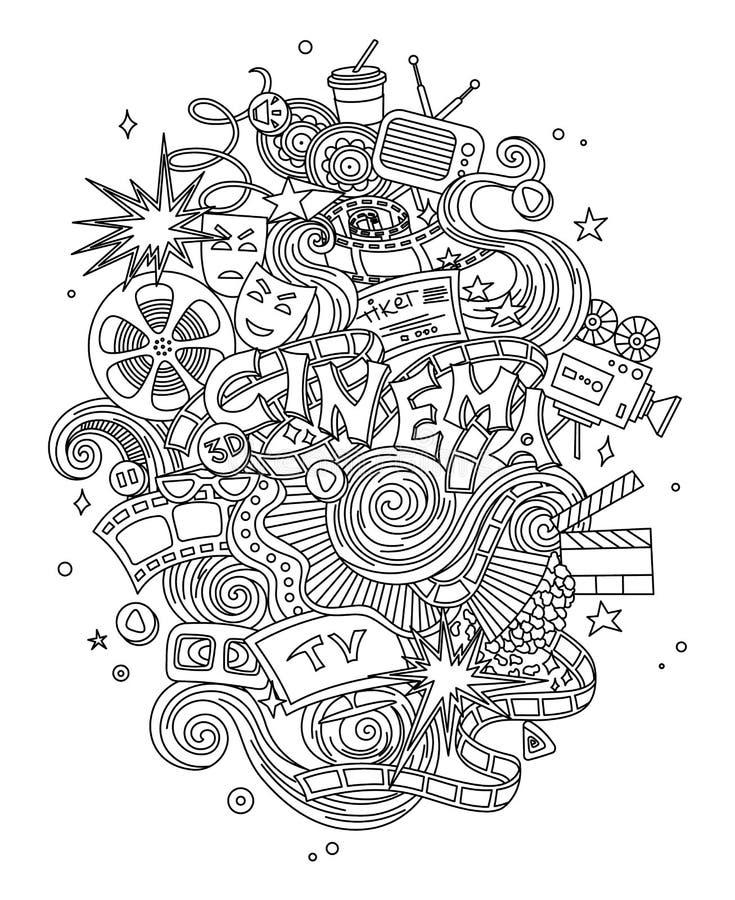Vector el cine, película, bosquejo dibujado mano de los garabatos de la película símbolos y objetos con diseño stock de ilustración