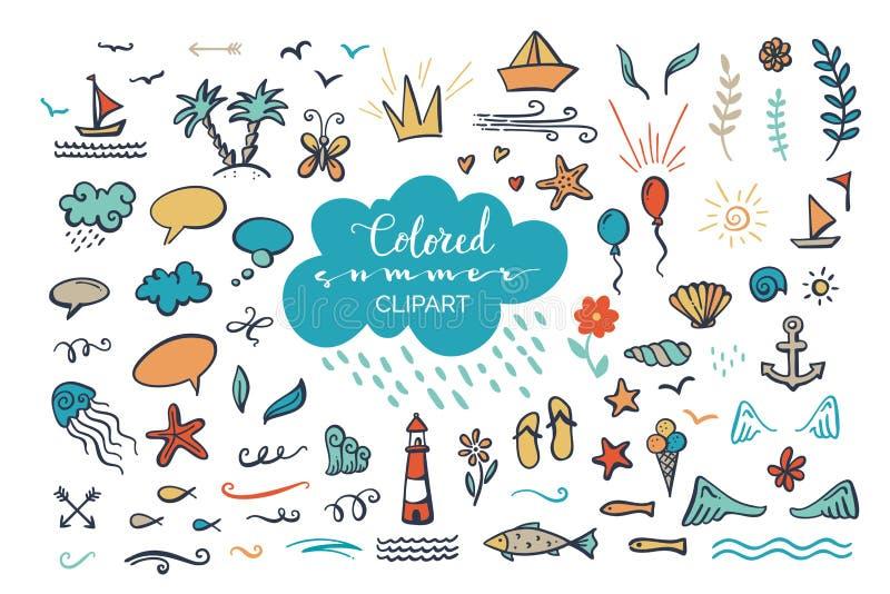 Vector el clipart coloreado a mano en el mar/el océano/el tema del verano stock de ilustración