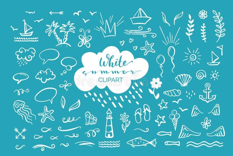 Vector el clipart a mano en el mar/el océano/el tema del verano libre illustration