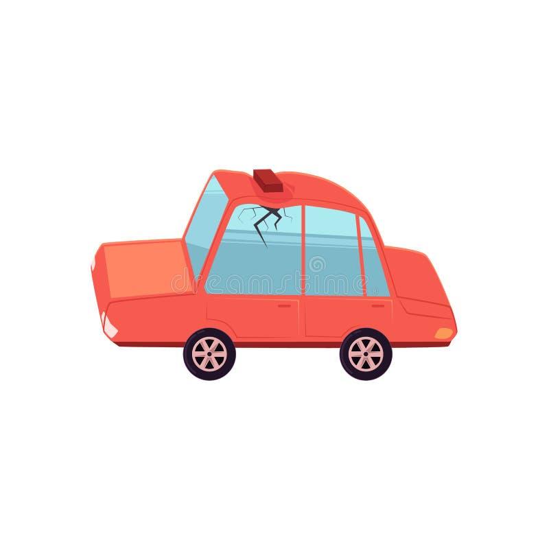 Vector el coche plano con el ladrillo caido, tejado abollado stock de ilustración