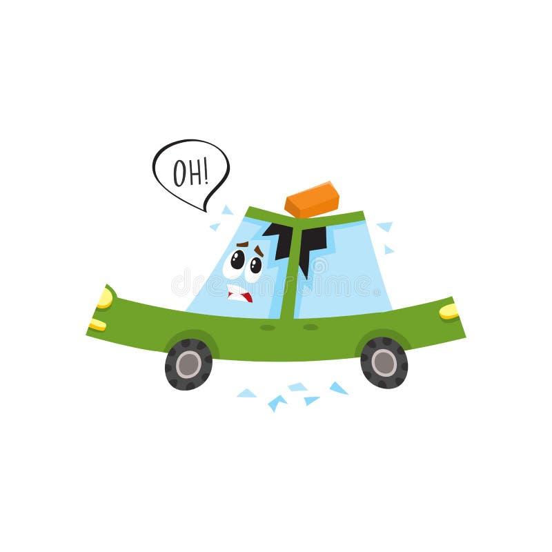 Vector el coche plano con el ladrillo caido, tejado abollado libre illustration