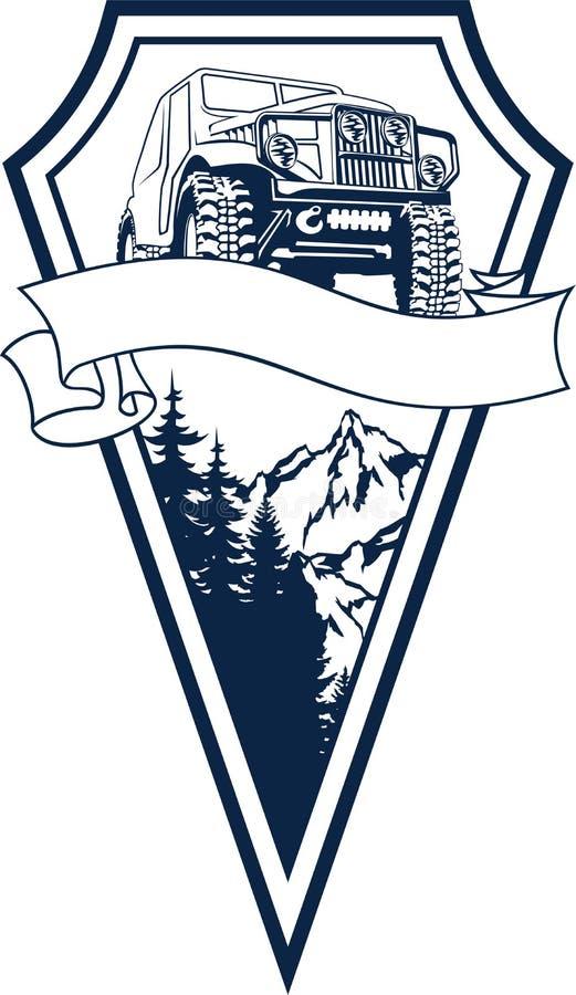 Vector el coche y las montañas campo a través del vehículo del emblema 4x4 stock de ilustración