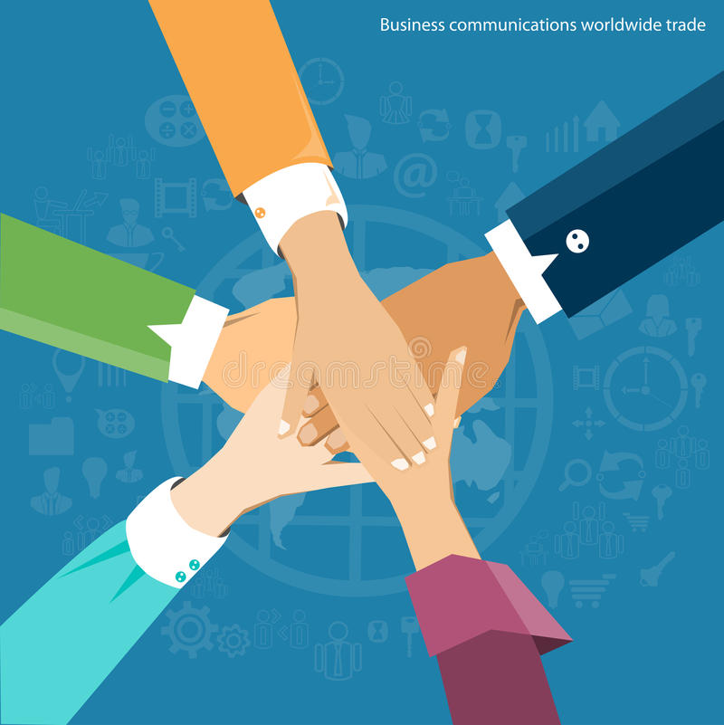 Vector el comercio de las comunicaciones empresariales por todo el mundo y colabore ilustración del vector