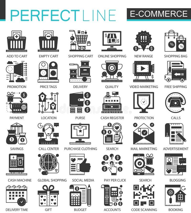Vector el comercio electrónico y el mini sistema negro del icono del concepto que hace compras e infographic de símbolos libre illustration