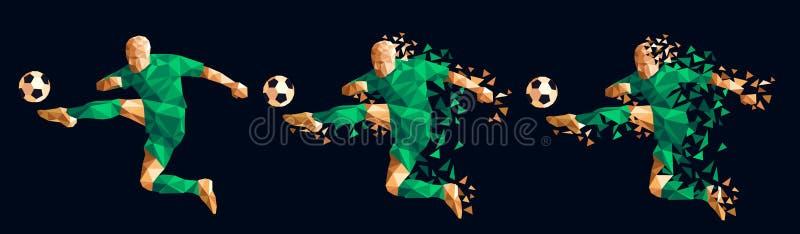 Vector el concep bajo-polivinílico del estilo del futbolista del fútbol del ejemplo stock de ilustración