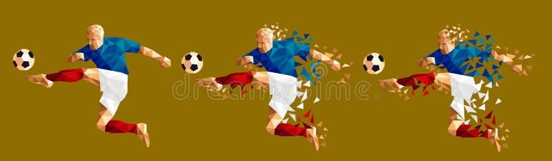 Vector el concep bajo-polivinílico del estilo del futbolista del fútbol del ejemplo libre illustration