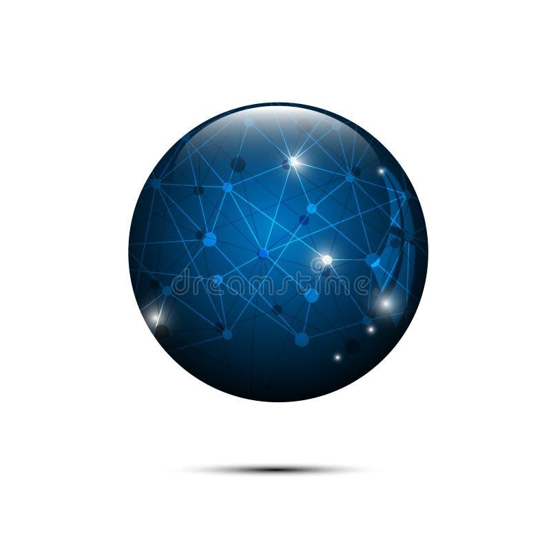 Vector el concepto de alta tecnología del diseño poligonal azul abstracto de la esfera libre illustration