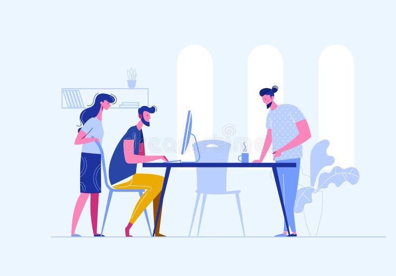 Vector el concepto de bisiness creativo del edificio del trabajo en equipo en línea en un openspace Trabajo de Sturtup Hombres de libre illustration