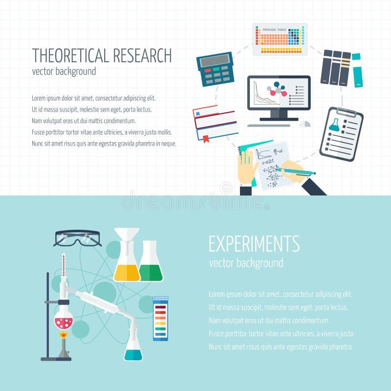 Vector el concepto de investigación y de la industria química Banderas horizontales de la investigación teórica y de los experime ilustración del vector