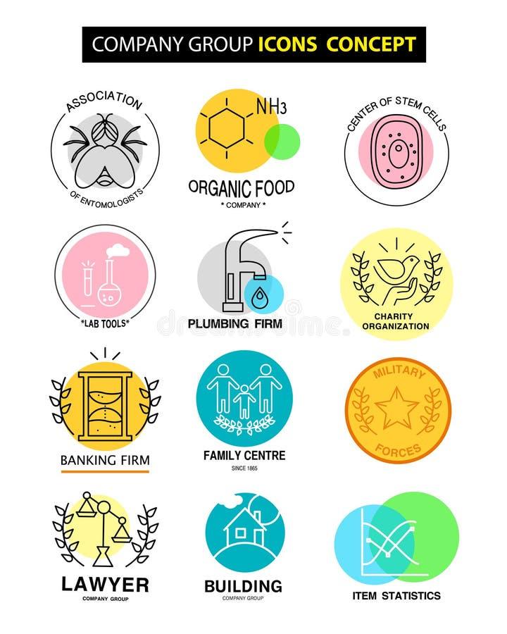 Vector el concepto de los iconos de grupo de compañía en el fondo blanco ilustración del vector