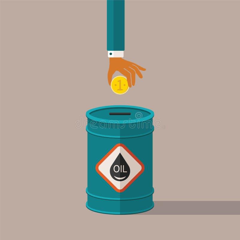 Vector el concepto de tasación y de costes de la industria de petróleo stock de ilustración