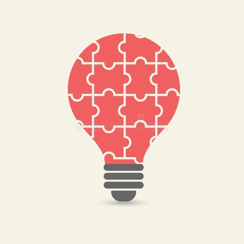 Vector el concepto de trabajo en equipo creativo con rompecabezas de la bombilla stock de ilustración