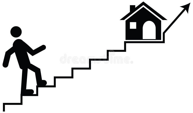 Vector el concepto de un hombre o de un guarda que sube en las escaleras con thei imagenes de archivo