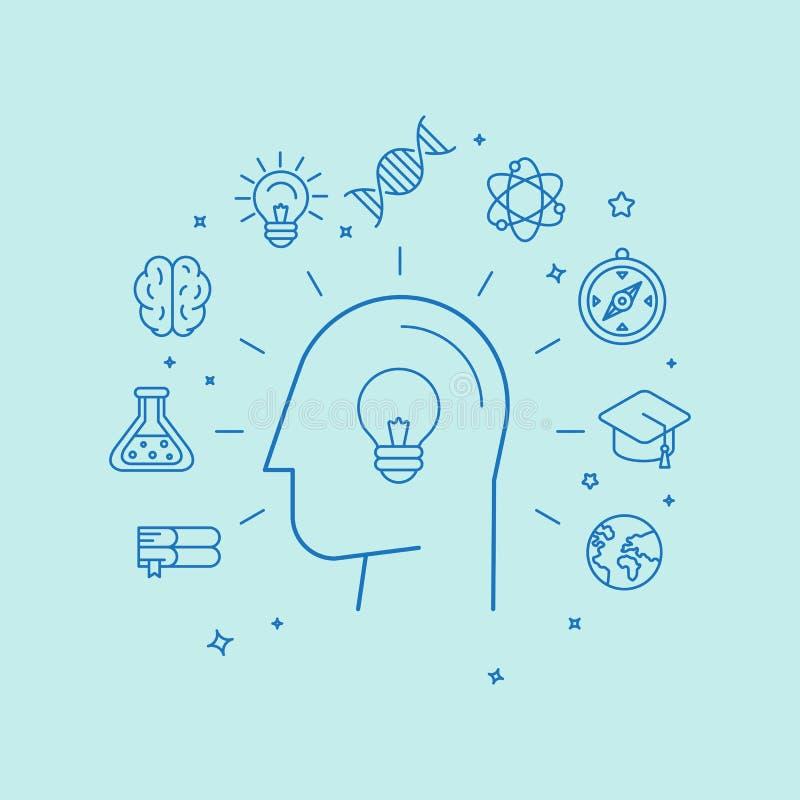 Vector el concepto del aprendizaje y de la educación en estilo linear stock de ilustración