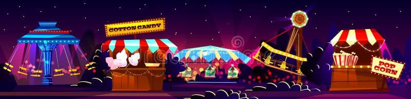Vector el concepto del carnaval, entretenimiento del circo, festival que viaja ilustración del vector