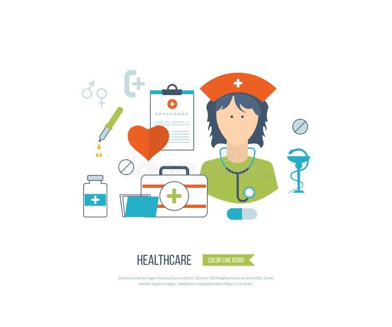 Vector el concepto del ejemplo para la atención sanitaria, la ayuda médica y la investigación libre illustration