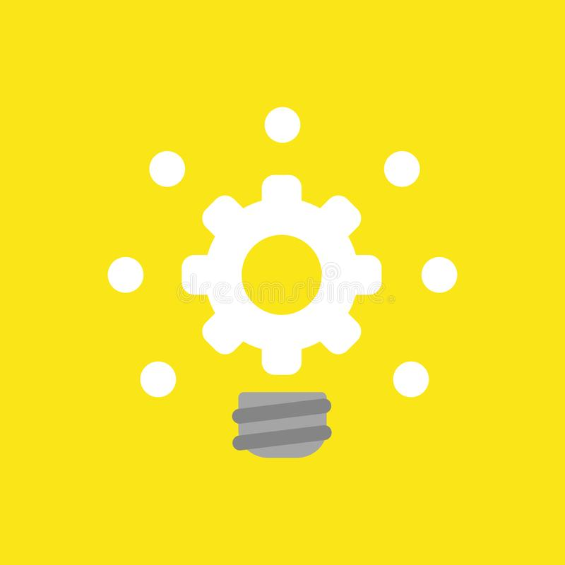 Vector el concepto del icono de bombilla del engranaje que brilla intensamente en backgro amarillo ilustración del vector