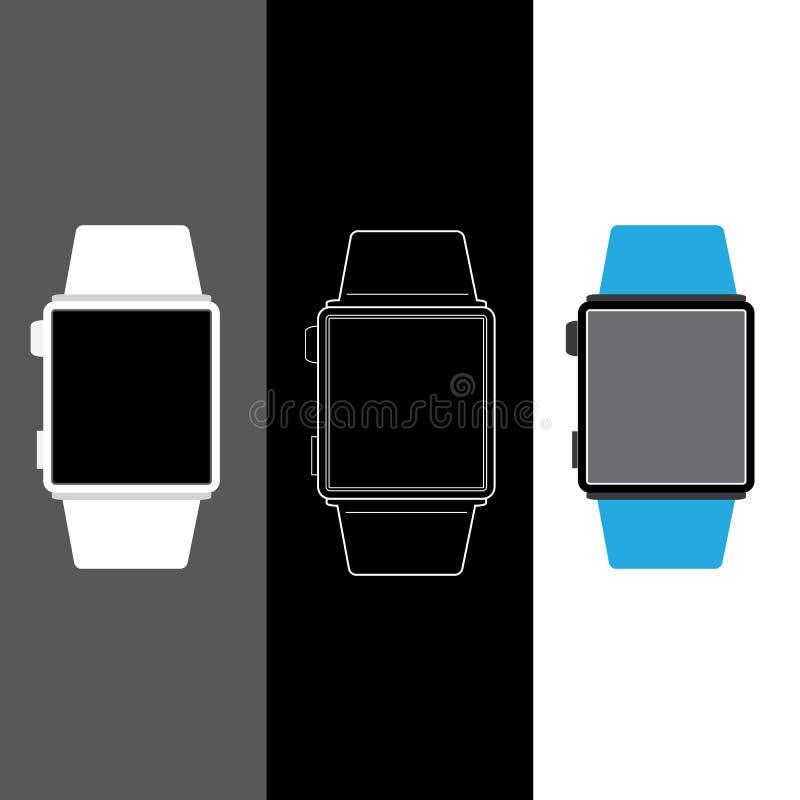 Vector el concepto elegante del reloj de tres diversos tipos de relojes digitales ilustración del vector